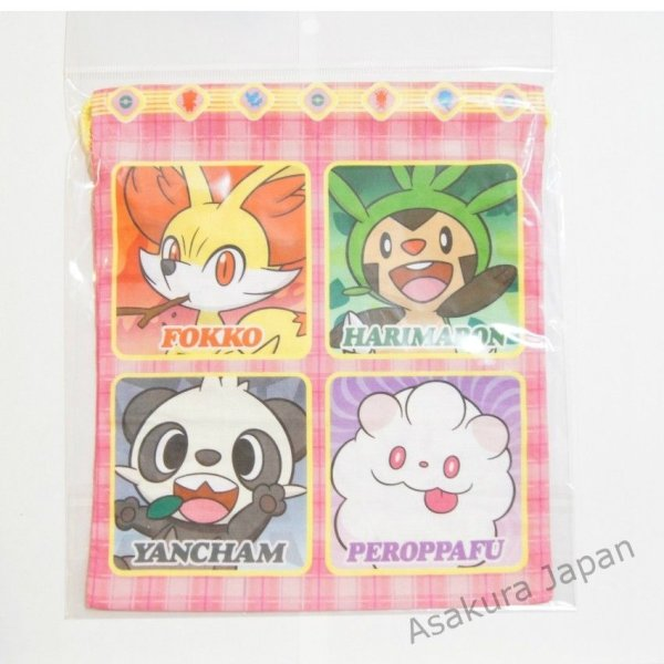 Photo1: Pokemon Center 2013 Fennekin Sylveon Drawstring Bag pouch Pink 22cm (1)