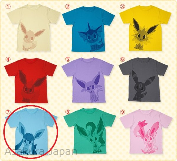 Photo1: Pokemon Center 2015 pokomon time Eevee COLLECTION T-SHIRT #7 Glaceon (1)