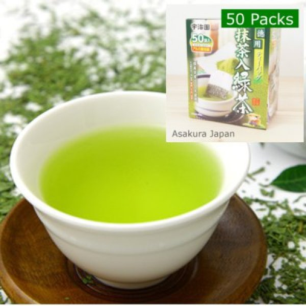 Photo1: Matcha Japanese green tea 50 packs (1 Box) UJIEN Tea bag (1)