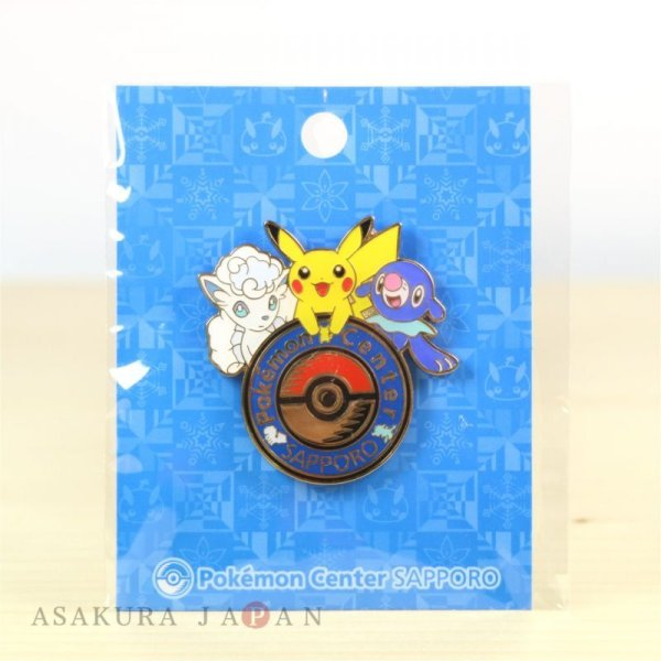 Photo1: Pokemon Center Sapporo Limited Original Logo Pins Pin Badge Alola Vulpix Pikachu Popplio (1)