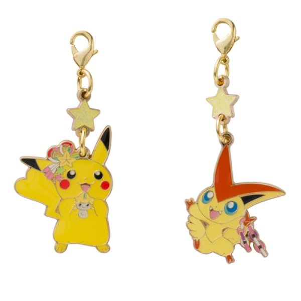 Photo1: Pokemon Center Tohoku 2017 Renewal Opening Metal Charm Pikachu Victini (1)