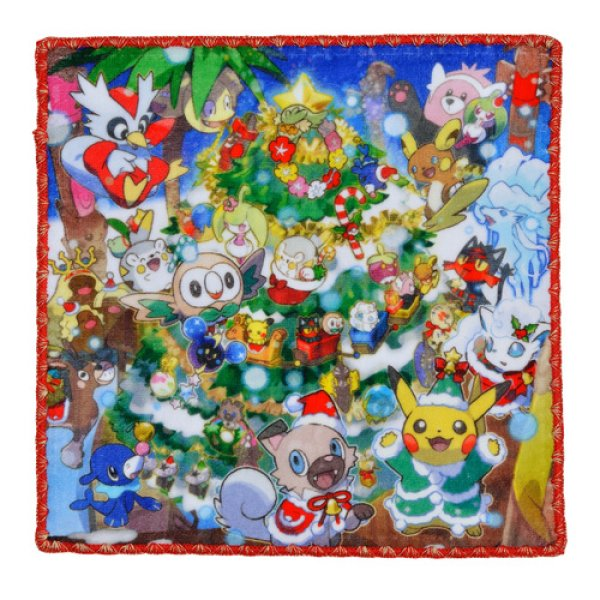 Photo1: Pokemon Center CHRISTMAS 2017 Hand towel Handkerchief Pikachu Alola Vulpix Rockruff (1)