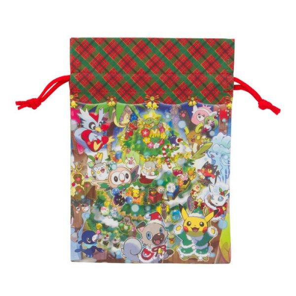 Photo1: Pokemon Center CHRISTMAS 2017 Drawstring Pouch Bag Pikachu Alola vulpix Rockruff (1)