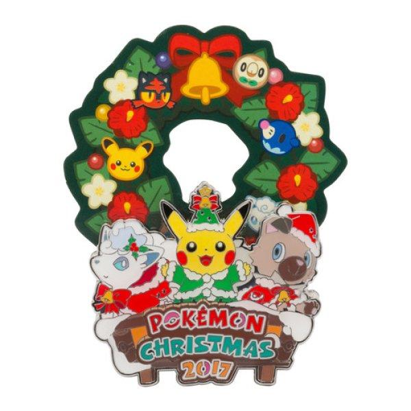 Photo1: Pokemon Center CHRISTMAS 2017 Metal Paper Stand Clip Pikachu Alola vulpix Rockruff (1)