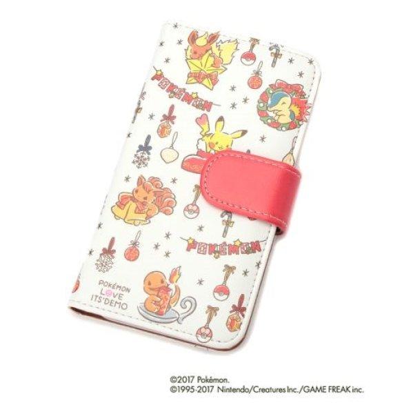 Photo1: POKEMON LOVE ITS' DEMO Christmas iPhone 8/7/6s/6 COVER Flip Case Pikachu Vulpix (1)