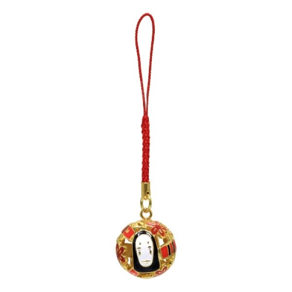Photo1: Studio Ghibli Bell Charm Strap Spirited Away Kaonashi No Face wooden ticket (1)