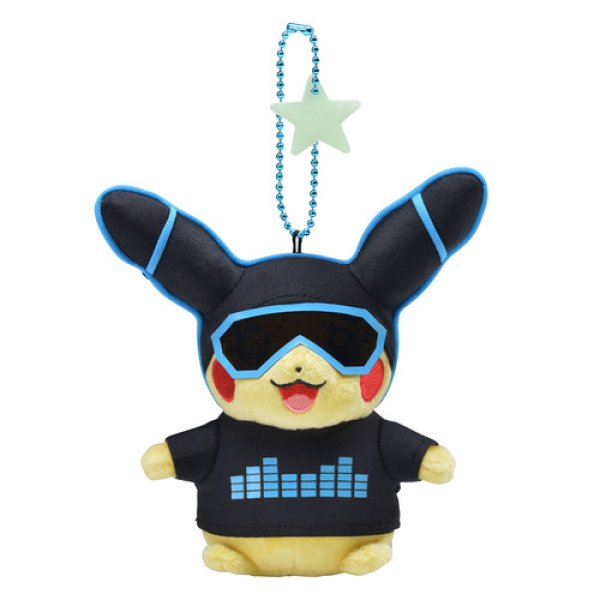 Photo1: Pokemon Center 2018 Science is amazing Neon Pikachu Blue ver. Plush Mascot Key chain (1)