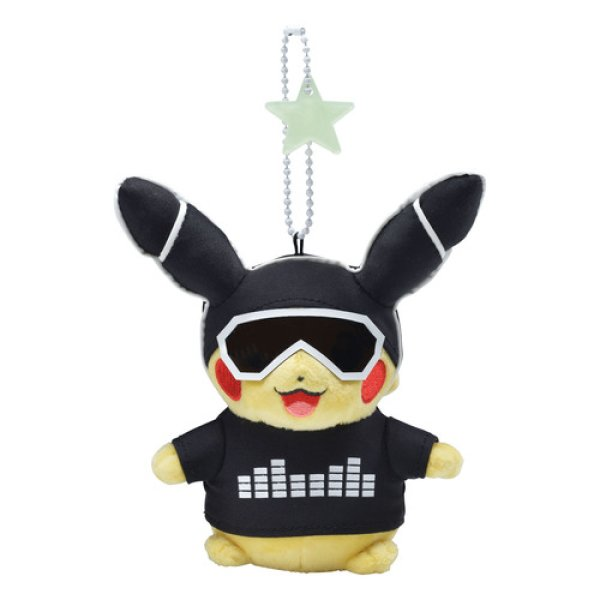 Photo1: Pokemon Center 2018 Science is amazing Neon Pikachu White ver. Plush Mascot Key chain (1)
