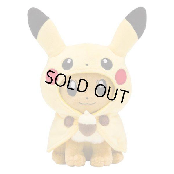 Photo1: Pokemon Center 2018 FAN OF PIKACHU & EEVEE Pikachu Poncho Eevee Plush doll (1)