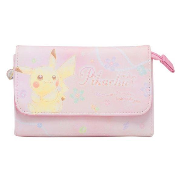 Photo1: Pokemon Center 2018 Pikachu & Eevee Cosmetics series Pouch case with mirror Pikachu (1)