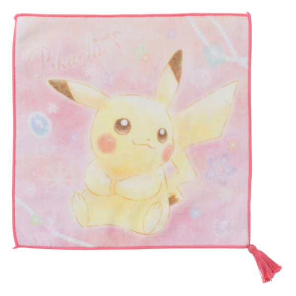 Photo1: Pokemon Center 2018 Pikachu & Eevee Cosmetics series Hand towel Handkerchief Pikachu (1)