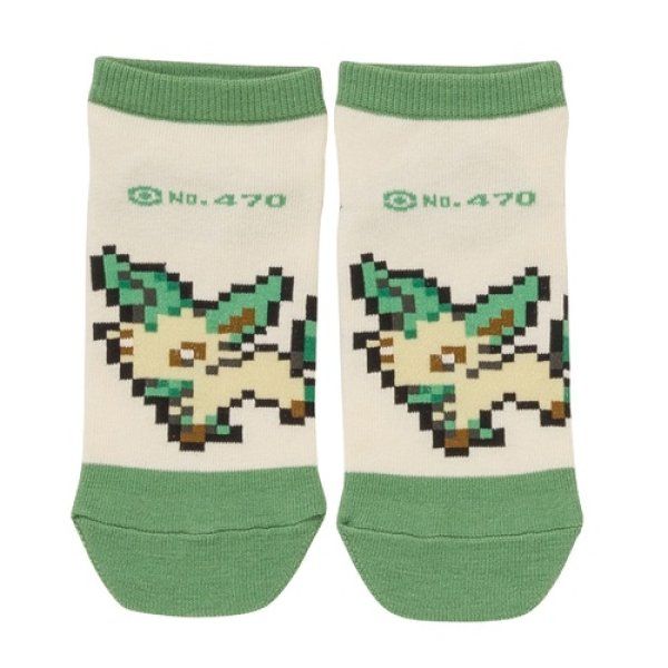 Photo1: Pokemon Center 2019 Eevee DOT COLLECTION Leafeon Socks for Women 23 - 25 cm 1 Pair (1)