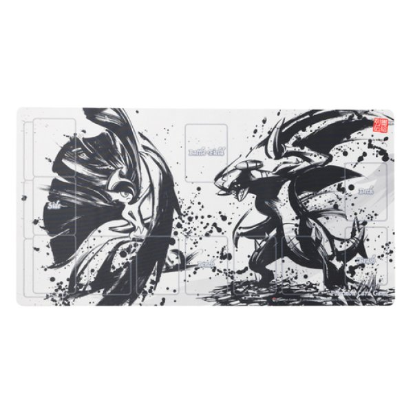Photo1: Pokemon Card Game Rubber play mat Sumi-e Retsuden Mega Gallade & Garchomp (1)
