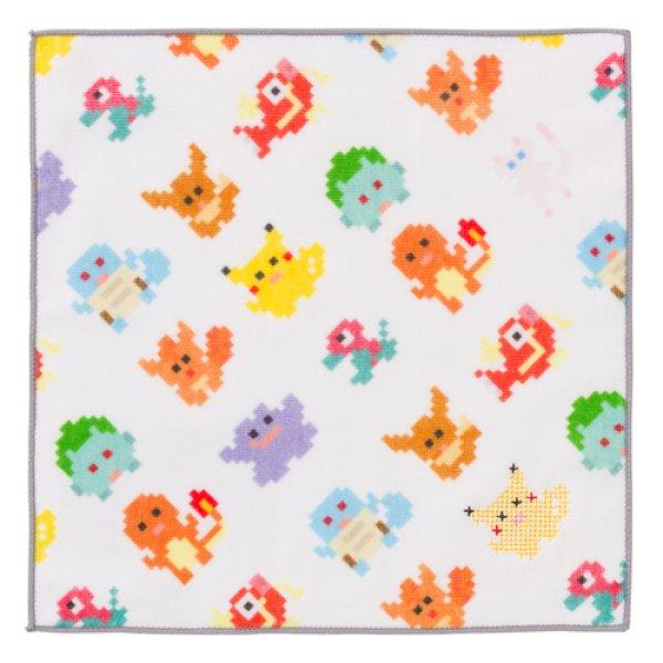 Photo1: Pokemon Center 2018 Dot Pixel Pokemon Hand towel Handkerchief white (1)