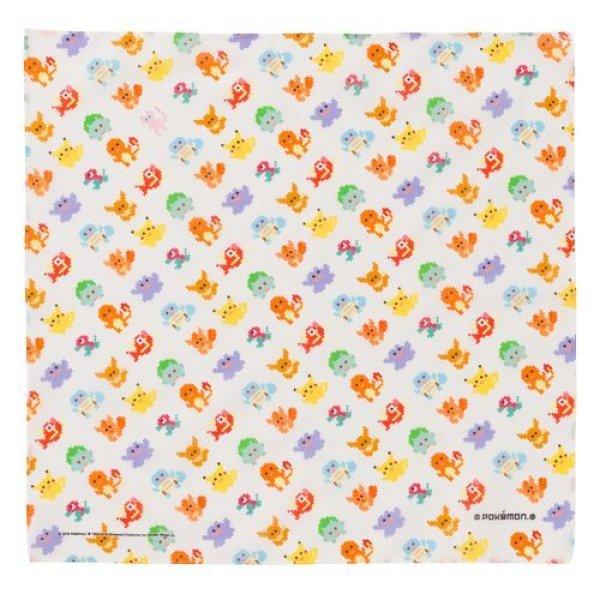 Photo1: Pokemon Center 2018 Dot Pixel Pokemon Handkerchief white (1)
