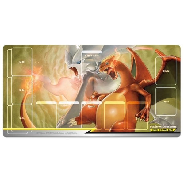 Photo1: Pokemon Card Game Rubber play mat Reshiram & Charizard TAG TEAM GX GYM Limited (1)