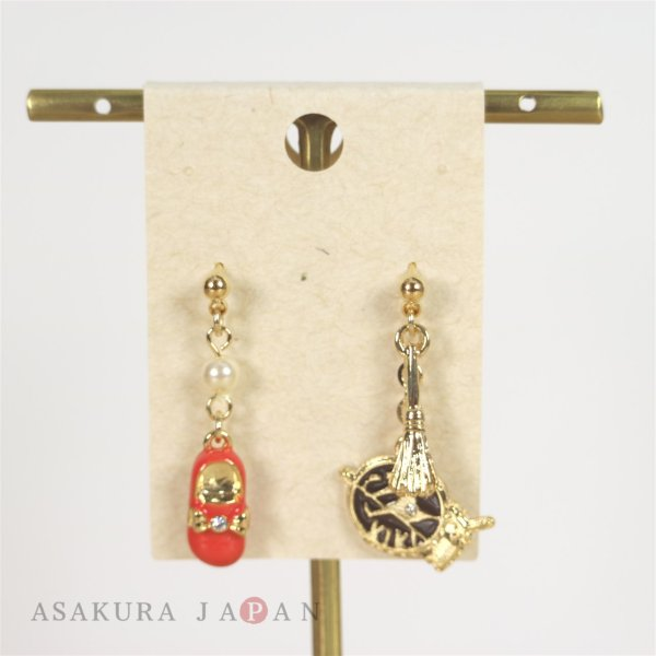 Photo1: Studio Ghibli Accessory Kiki's Delivery Service Pierced Earrings 22232 Broom & Red shoes (1)