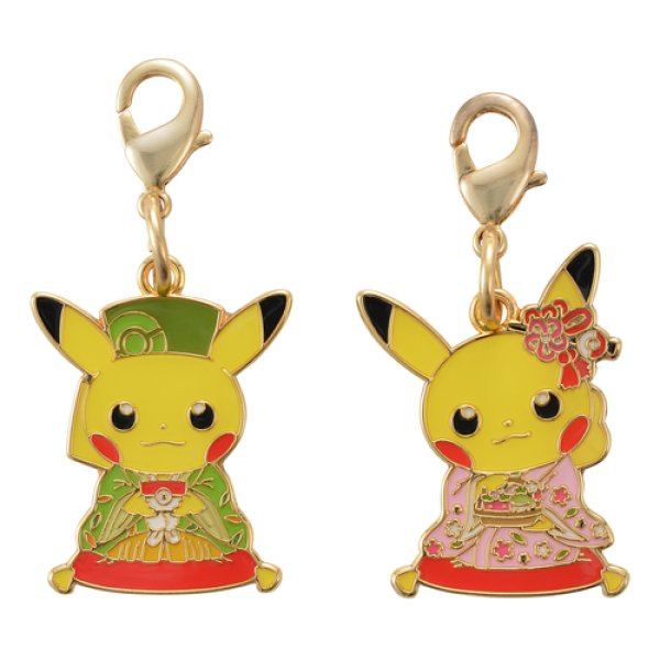 Photo1: Pokemon Center Kyoto 2019 Renewal Open Japanese tea party Pikachu Metal Charm Male Female (1)