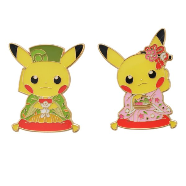 Photo1: Pokemon Center Kyoto 2019 Renewal Open Japanese tea party Pikachu Pin Badge Pins Male Female (1)