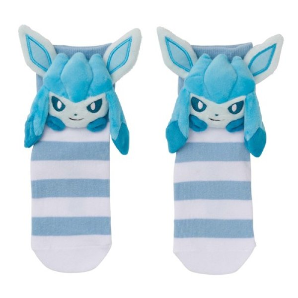 Photo1: Pokemon Center 2019 Plush Socks for Women 23 - 25 cm 1 Pair Glaceon (1)
