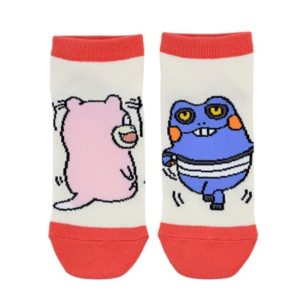 Photo1: Pokemon Center 2019 24 Hours Pokemon CHU Socks for Women 23 - 25 cm 1 Pair Slowpok & Croagunk (1)