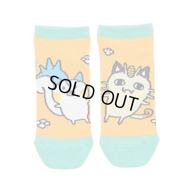 Photo1: Pokemon Center 2019 24 Hours Pokemon CHU Socks for Women 23 - 25 cm 1 Pair Pachiris & Meowth (1)