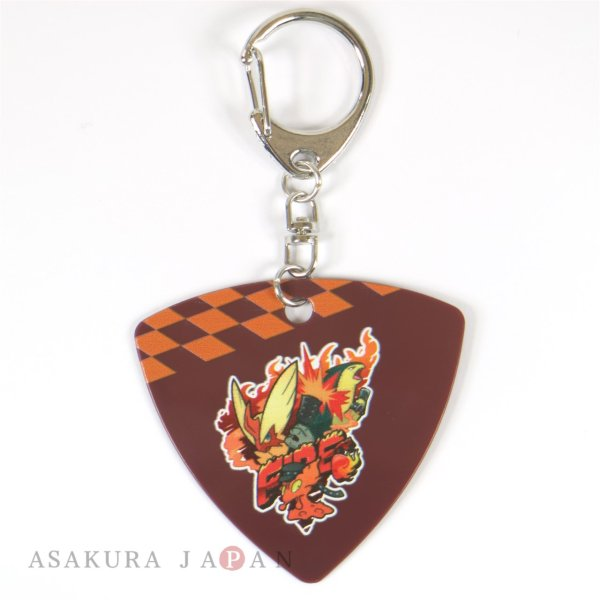 Photo1: Pokemon Center 2019 POKEMON BAND FES Pick Shaped Key chain Fire (1)