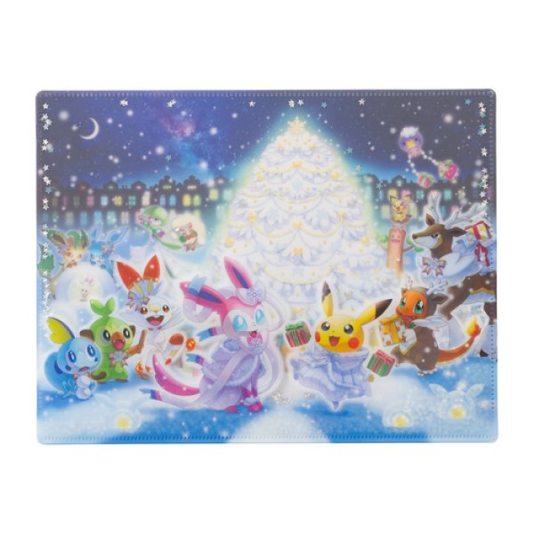 Photo1: Pokemon Center 2019 Frosty Christmas A4 Size Double Clear File Folder with SEQUINS (1)