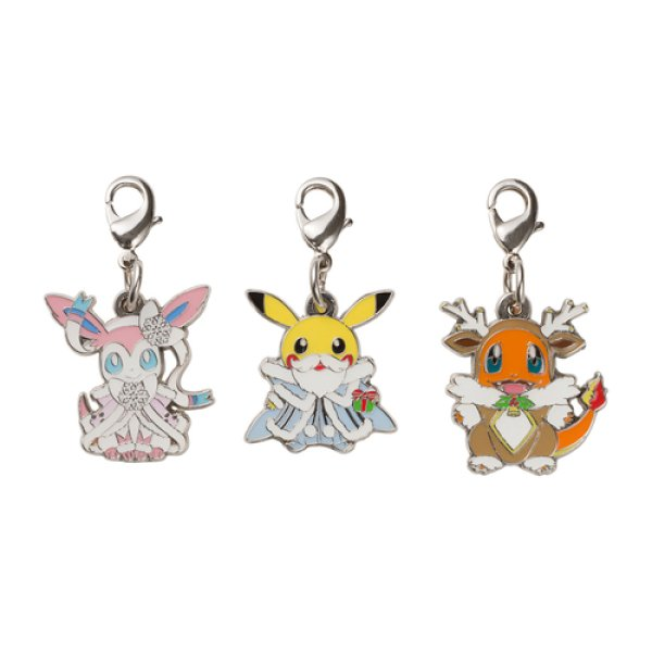 Photo1: Pokemon Center 2019 Frosty Christmas Metal charm set (1)