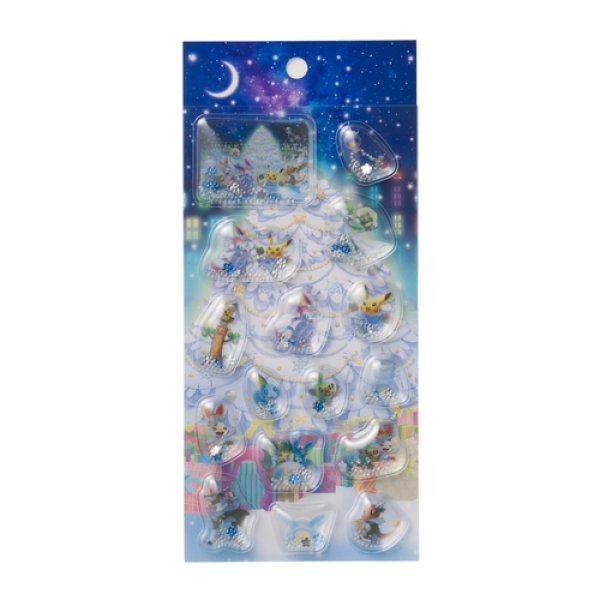 Photo1: Pokemon Center 2019 Frosty Christmas Capsule Sticker with SEQUINS (1)