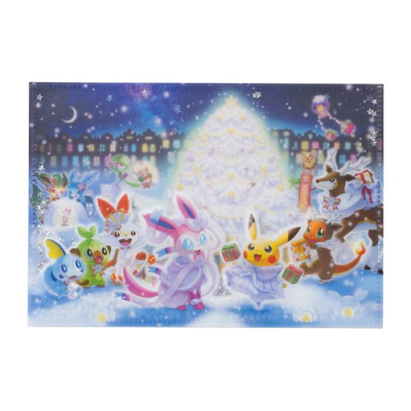 Photo1: Pokemon Center 2019 Frosty Christmas Notebook with SEQUINS cover (1)
