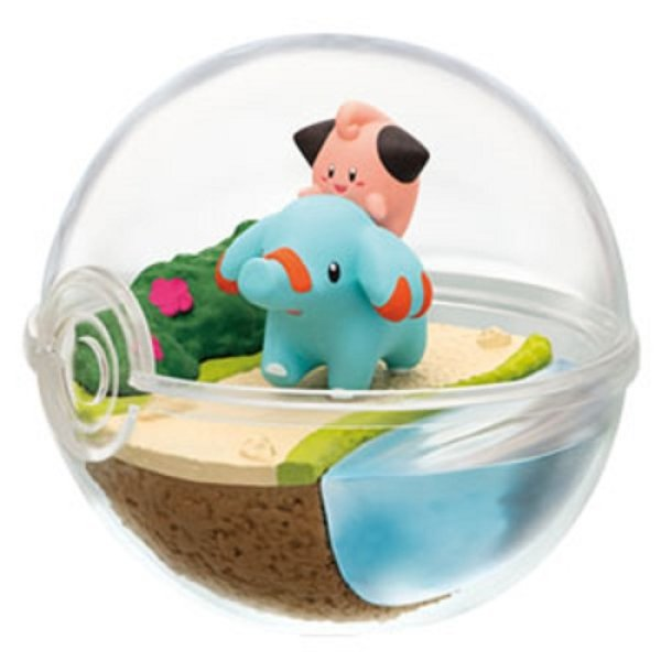 Photo1: Pokemon 2019 Terrarium Collection vol.7 #5 Cleffa & Phanpy Mini Figure (1)