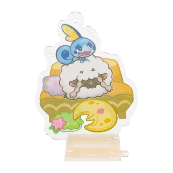 Photo1: Pokemon Center 2019 Snorlax's yawn Acrylic Stand Key Chain Wooloo Sobble ver. (1)