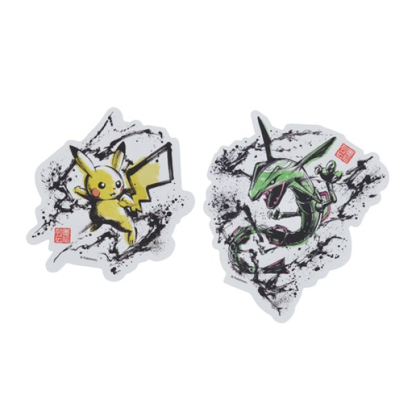 Photo1: Pokemon Center 2020 Sumi-e Retsuden vol.2 Sticker Sheet Pikachu & Rayquaza (1)