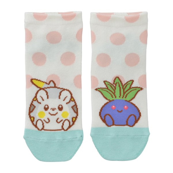 Photo1: Pokemon Center 2020 MOTCHIRI MANMARU Socks for Women 23 - 25 cm Togedemaru & Oddish 1 Pair (1)