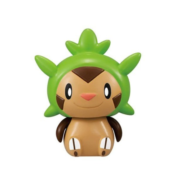 Photo1: Pokemon 2020 BANDAI Colle chara ! vol.3 #6 Chespin Mini Figure with name pedestal (1)