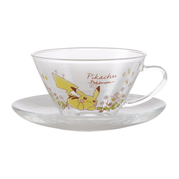 Photo1: Pokemon Center 2020 Flowers in full bloom Pikachu Heat-resistant tea cup & saucer #2 (1)