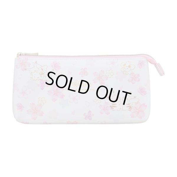Photo1: Pokemon Center 2020 Pikachu Cherry Blossoms campaign W flat pen pouch case (1)