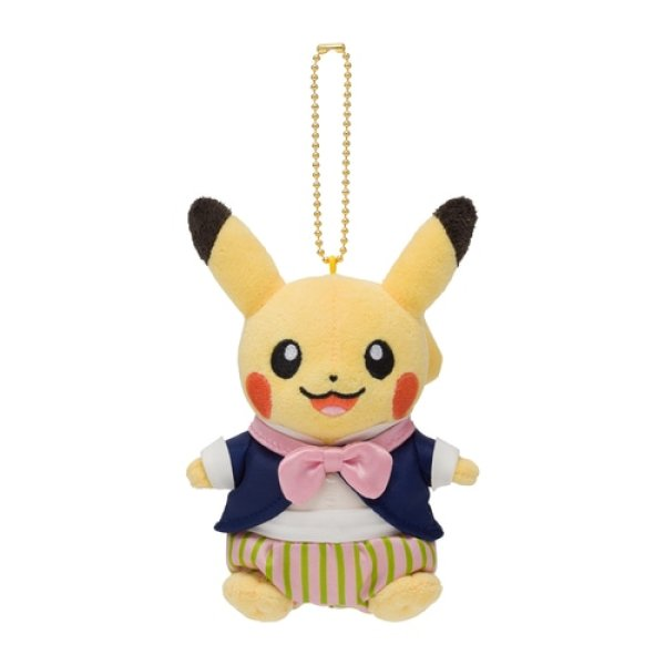 Photo1: Pokemon Center 2021 Pokemon Mysterious Tea Party Pikachu Plush Mascot Key Chain (1)