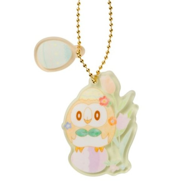 Photo1: Pokemon Center 2021 Happy Easter Basket Key chain with Egg-shaped case Rowlet ver. (1)
