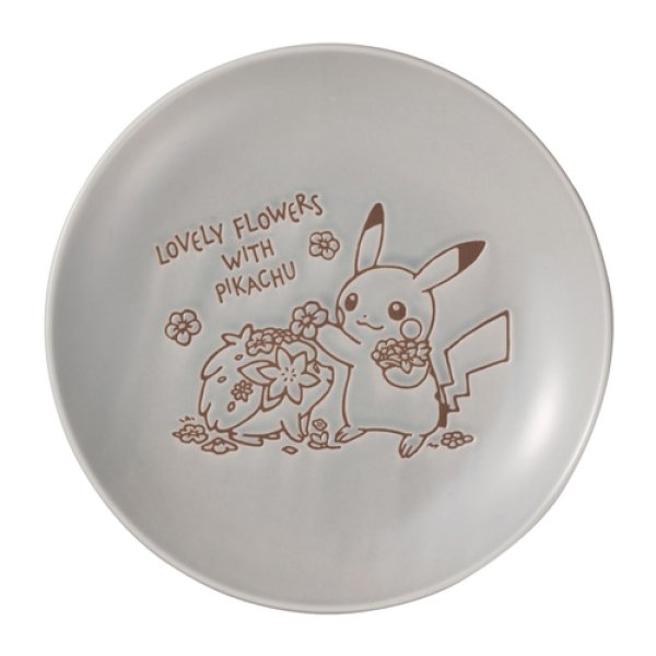 Photo1: Pokemon Center 2021 LOVELY FLOWERS WITH PIKACHU Plate M size Blue gray ver. (1)