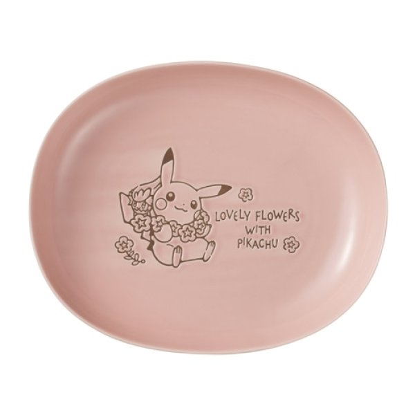 Photo1: Pokemon Center 2021 LOVELY FLOWERS WITH PIKACHU Oval bowl Pink ver. (1)