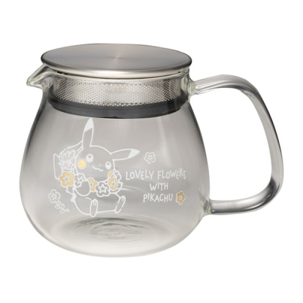 Photo1: Pokemon Center 2021 LOVELY FLOWERS WITH PIKACHU Heat resistant one-touch teapot (1)