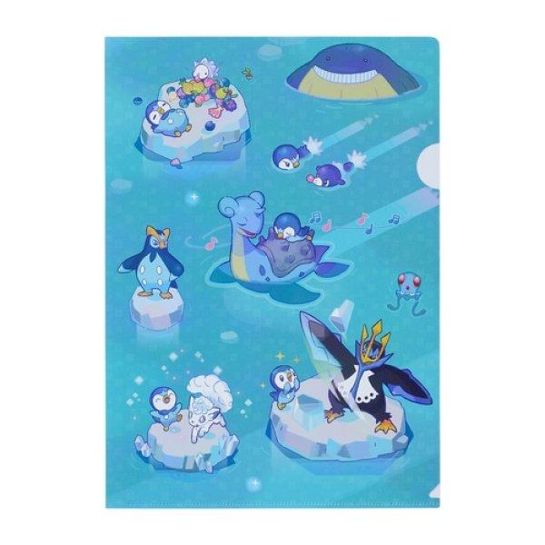 Photo1: Pokemon Center 2021 Pochama's daily life Piplup A4 Size Clear File Folder (1)