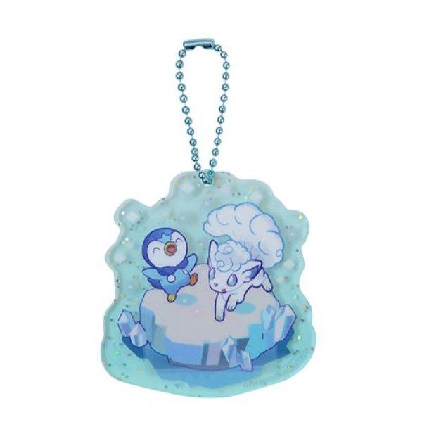 Photo1: Pokemon Center 2021 Pochama's daily life Acrylic Charm Key chain #4 Piplup & Alola Vulpix (1)