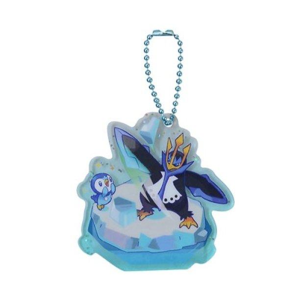 Photo1: Pokemon Center 2021 Pochama's daily life Acrylic Charm Key chain #1 Piplup & Empoleon (1)