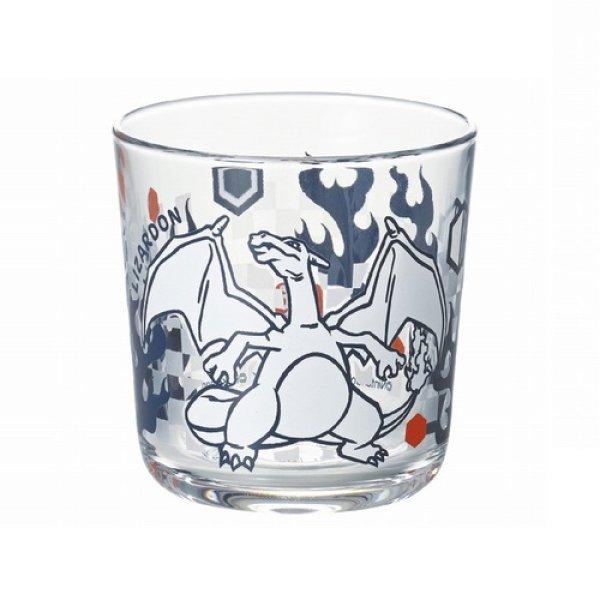 Photo1: Pokemon 2021 Kiri-e art Glass cup Charizard Wide tumbler (1)