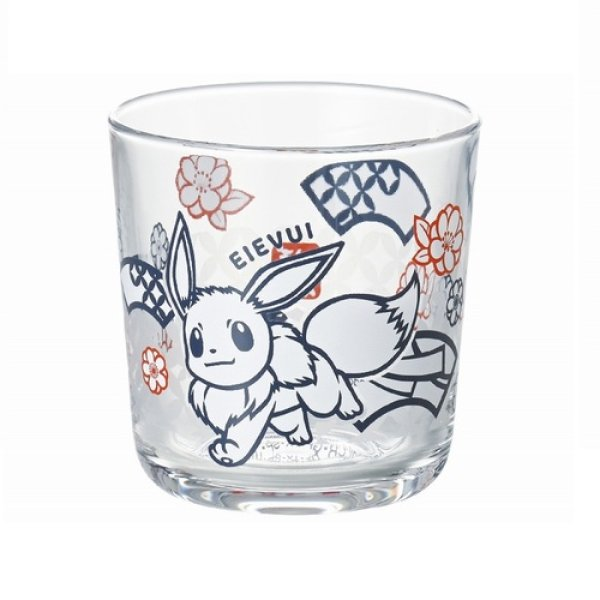 Photo1: Pokemon 2021 Kiri-e art Glass cup Eevee Wide tumbler (1)