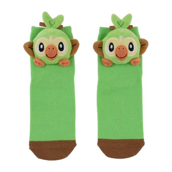 Photo1: Pokemon Center 2020 Plush Socks for Women 23 - 25 cm 1 Pair Grookey (1)