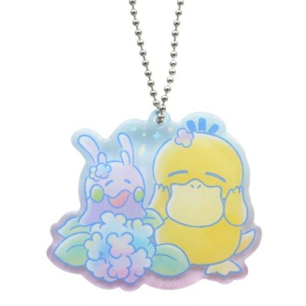 Photo1: Pokemon Center 2020 Psyduck No-Tenki Acrylic Charm Key chain #4 Psyduck & Goomy (1)